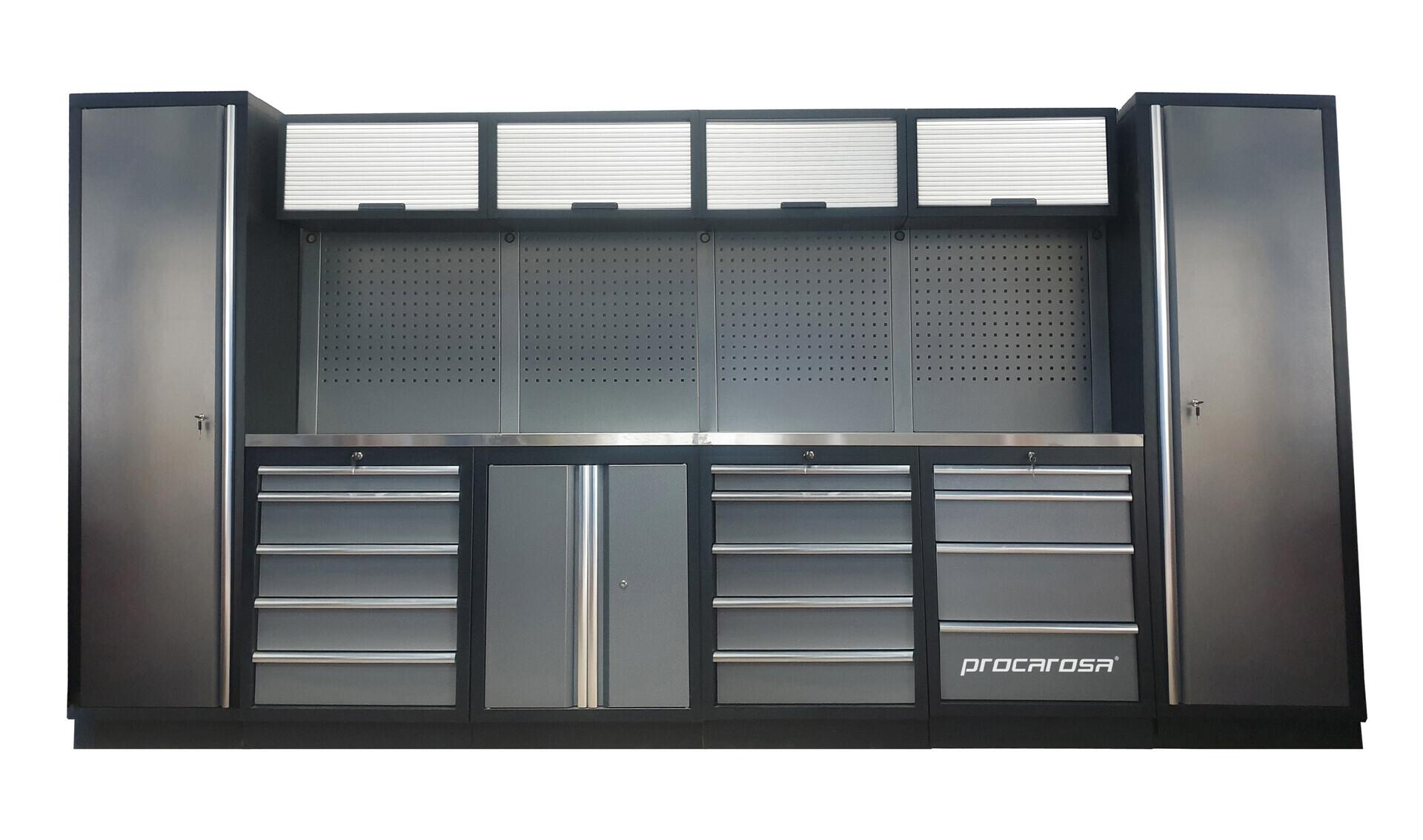 Sestava dílenského nábytku Procarosa PROFESSIONAL L-5 Pracovní deska: nerezová, Hmotnost: