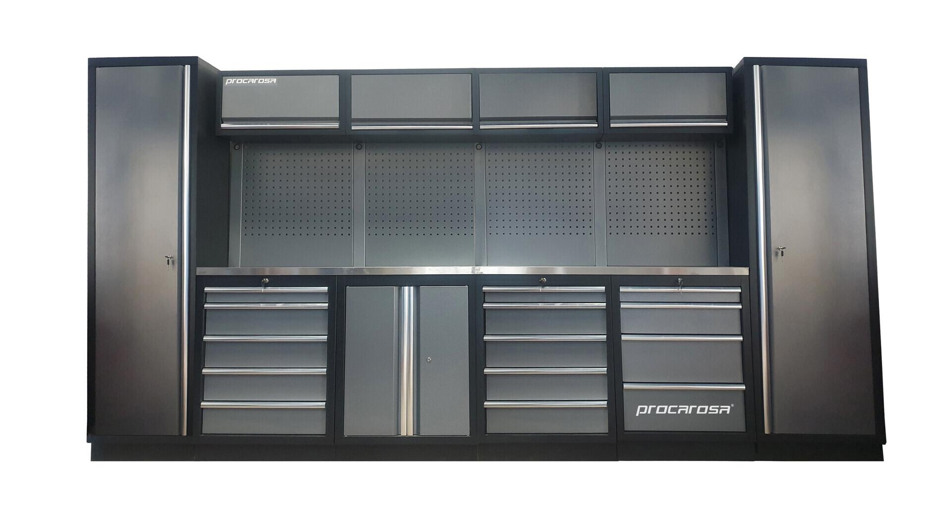 Sestava dílenského nábytku Procarosa PROFESSIONAL L-6 Pracovní deska: nerezová, Hmotnost: