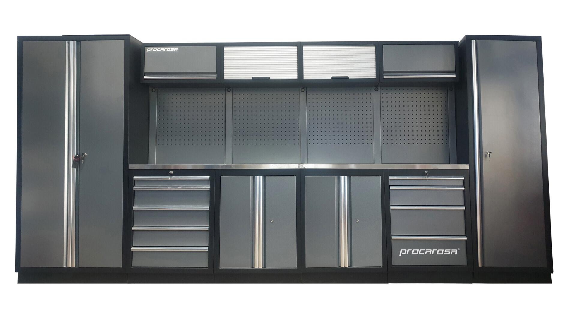 Sestava dílenského nábytku Procarosa PROFESSIONAL XL-2 Pracovní deska: nerezová, Hmotnost: