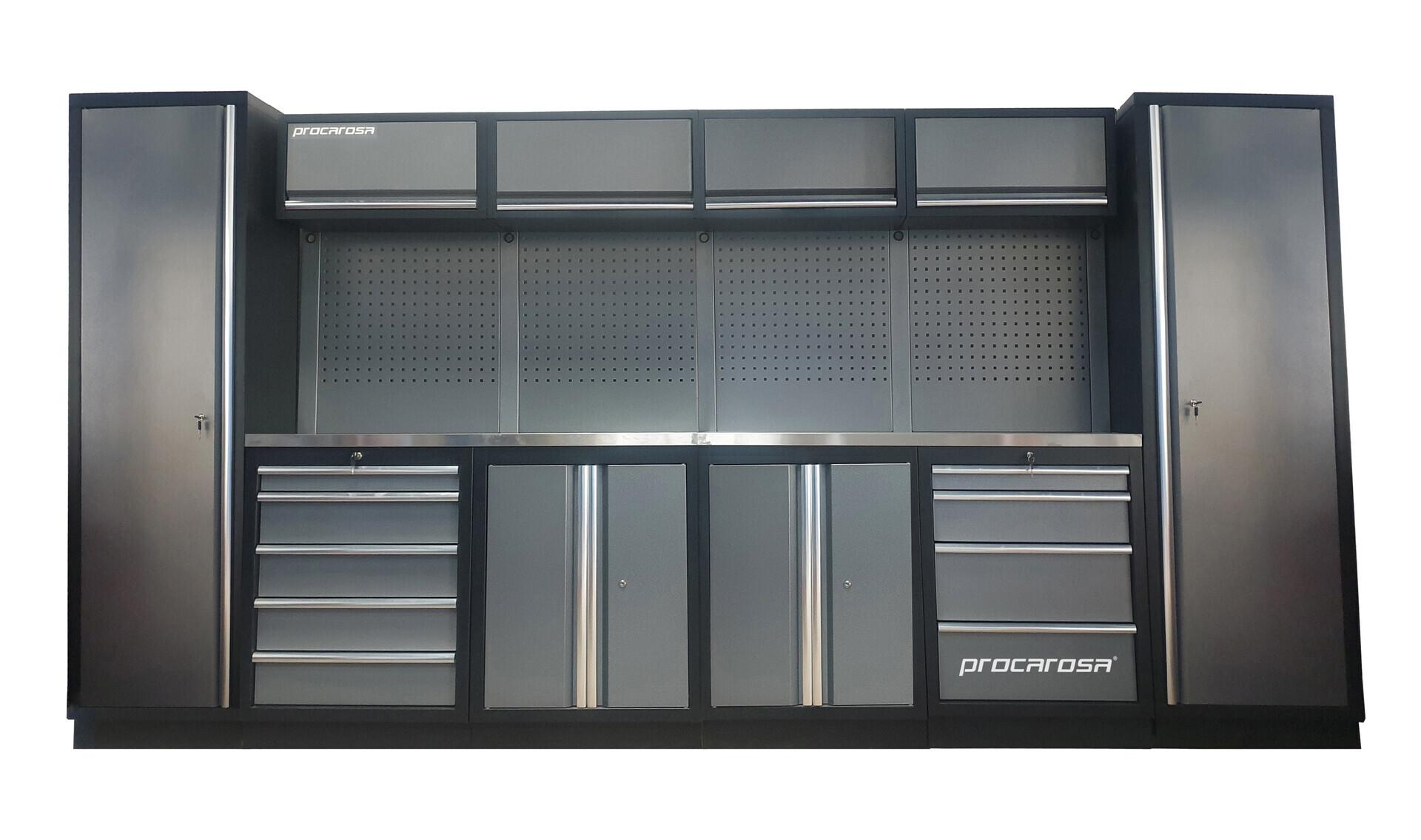 Sestava dílenského nábytku Procarosa PROFESSIONAL L-3 Pracovní deska: nerezová, Hmotnost:
