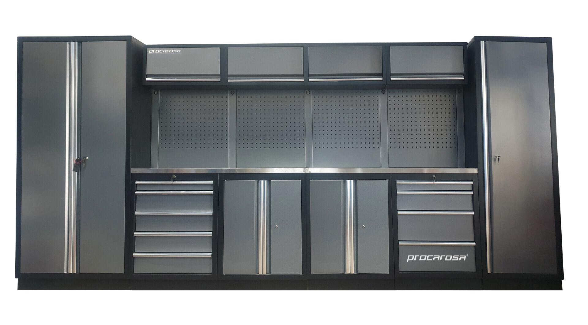 Sestava dílenského nábytku Procarosa PROFESSIONAL XL-3 Pracovní deska: nerezová, Hmotnost:
