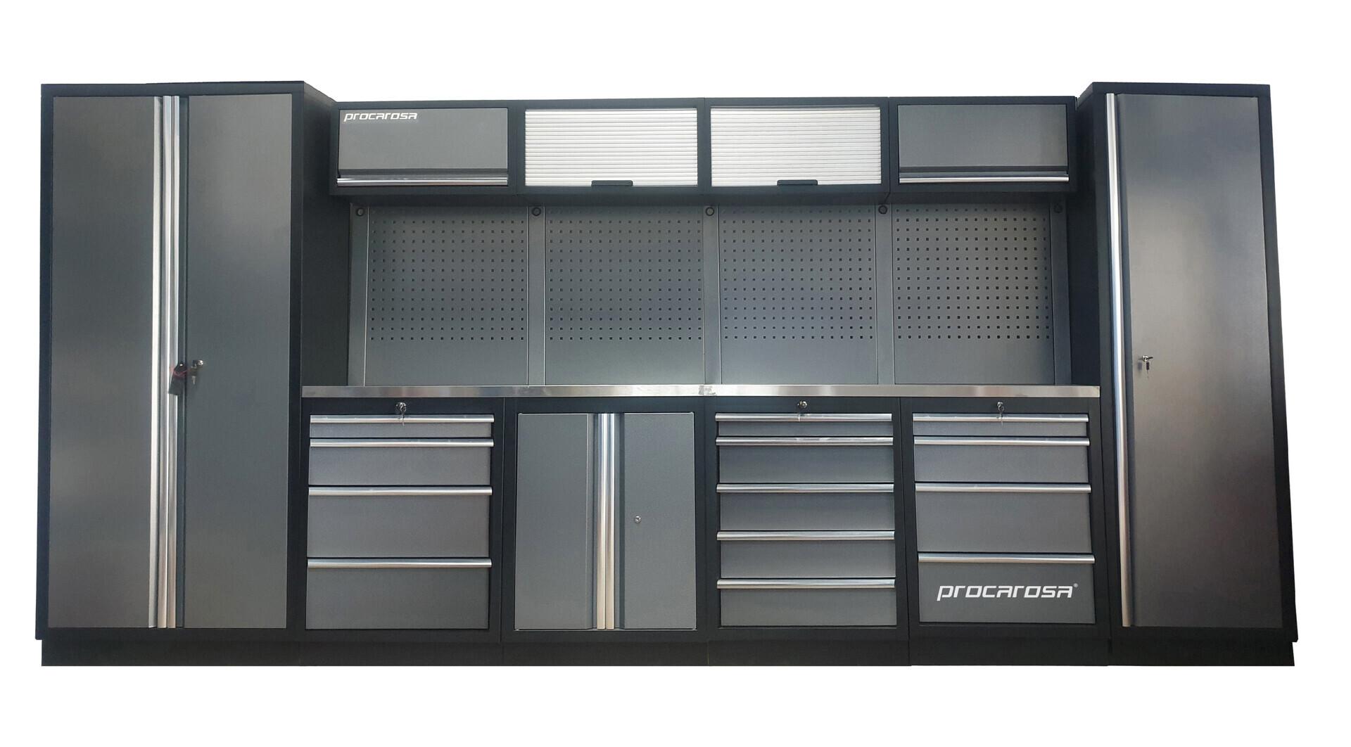 Sestava dílenského nábytku Procarosa PROFESSIONAL XL-4 Pracovní deska: nerezová, Hmotnost: