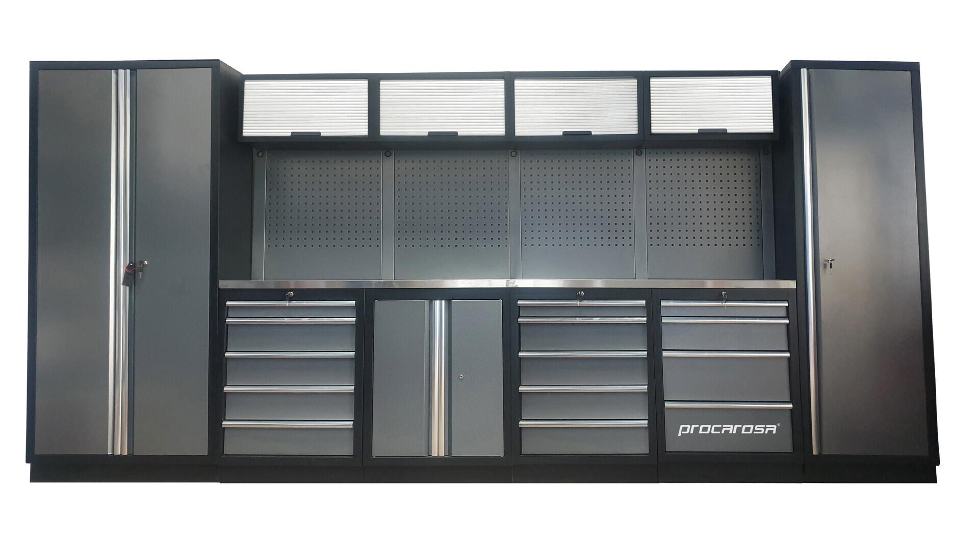 Sestava dílenského nábytku Procarosa PROFESSIONAL XL-5 Pracovní deska: nerezová, Hmotnost: