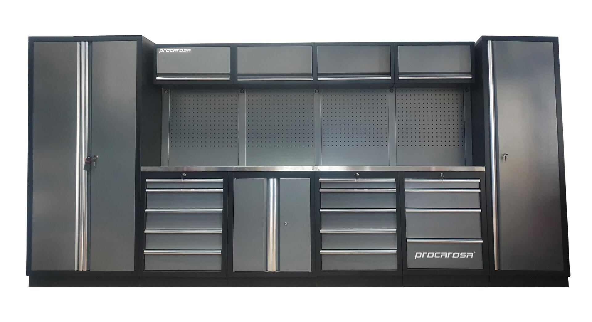 Sestava dílenského nábytku Procarosa PROFESSIONAL XL-6 Pracovní deska: nerezová, Hmotnost: