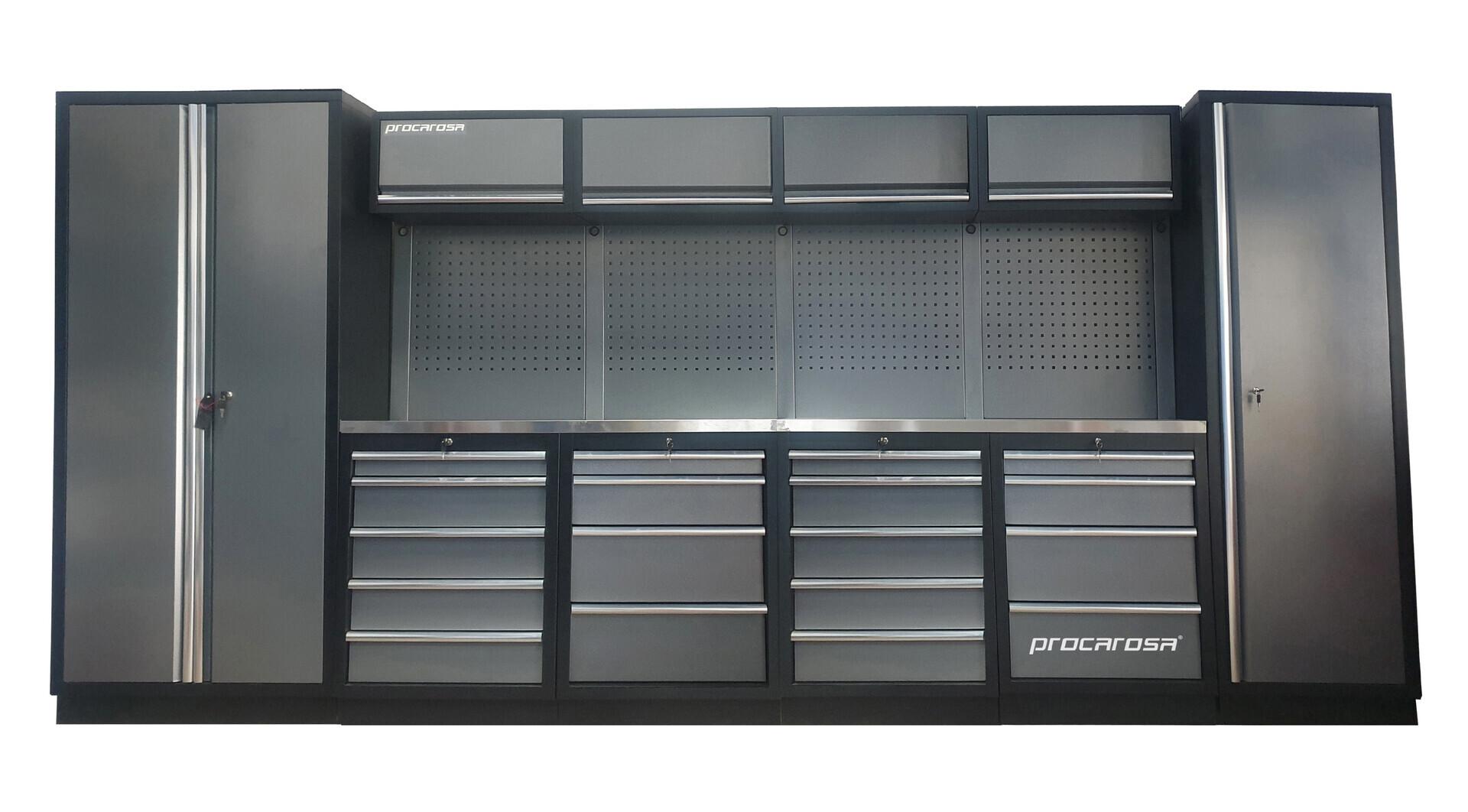 Sestava dílenského nábytku Procarosa PROFESSIONAL XL-7 Pracovní deska: nerezová, Hmotnost: