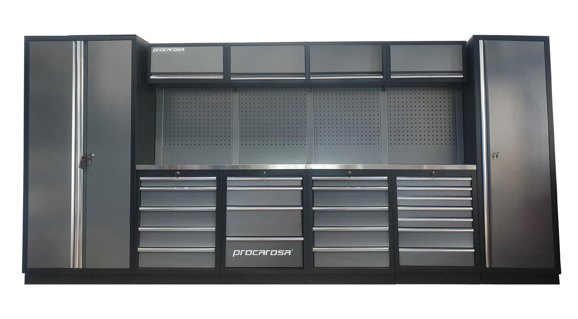 Sestava dílenského nábytku Procarosa PROFESSIONAL XL-8 Pracovní deska: nerezová, Hmotnost: