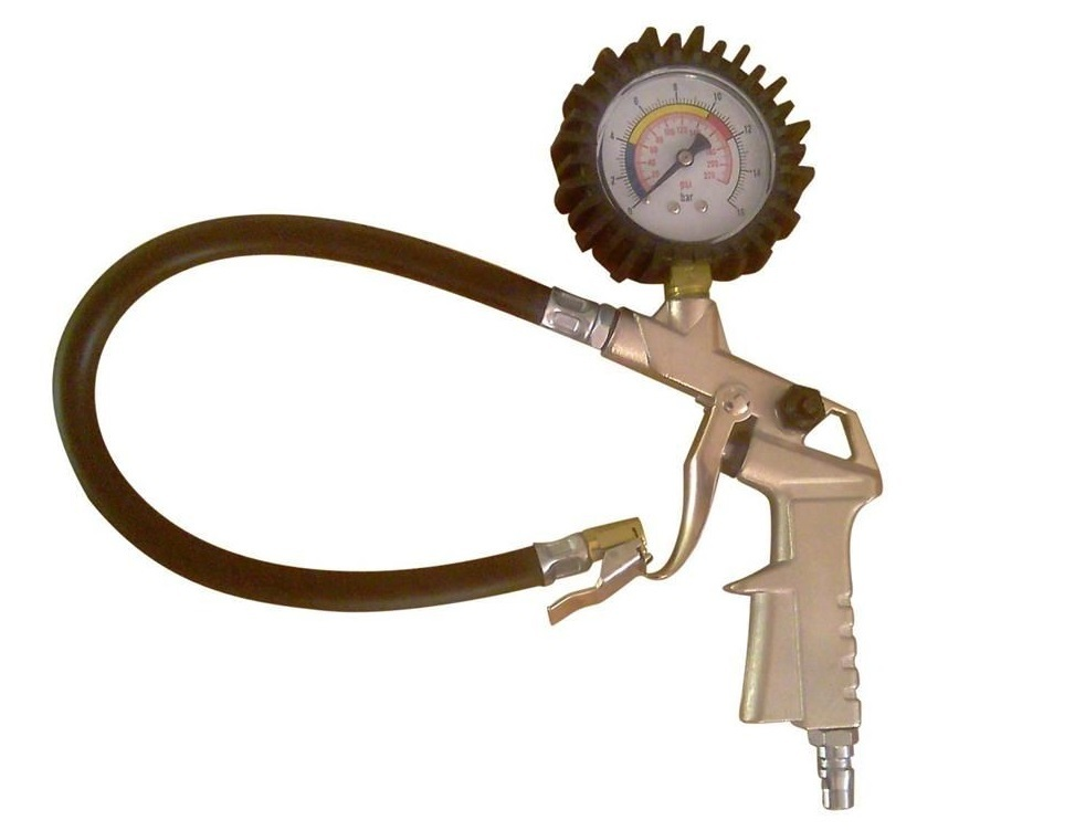 Pistole foukací, pneuhustič s hadicí a manometrem 0-16 bar - QUATROS QS90189
