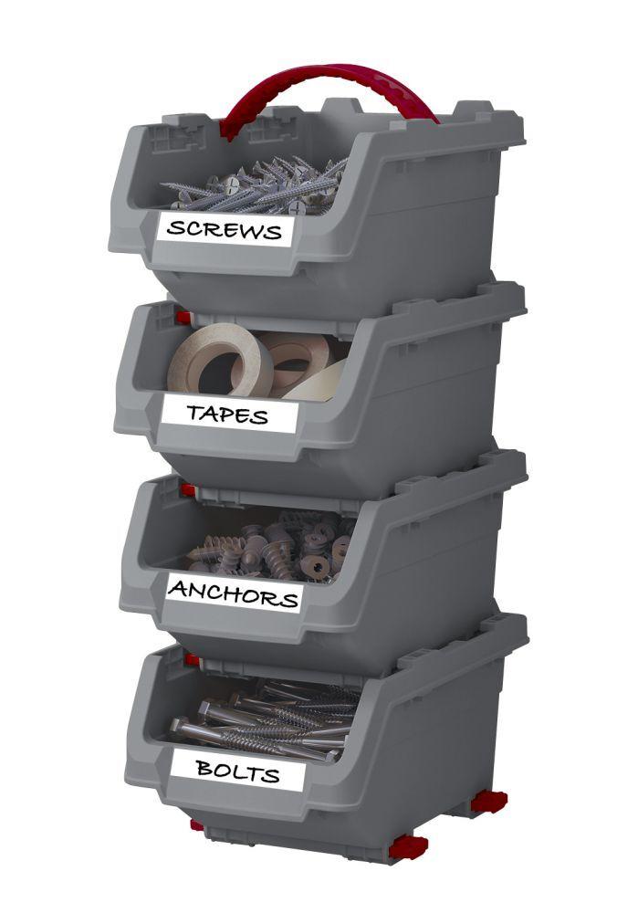 Plastové boxy střední 160 x 230 x 135 mm, stohovatelné, sada 4 ks - CLICK BINS