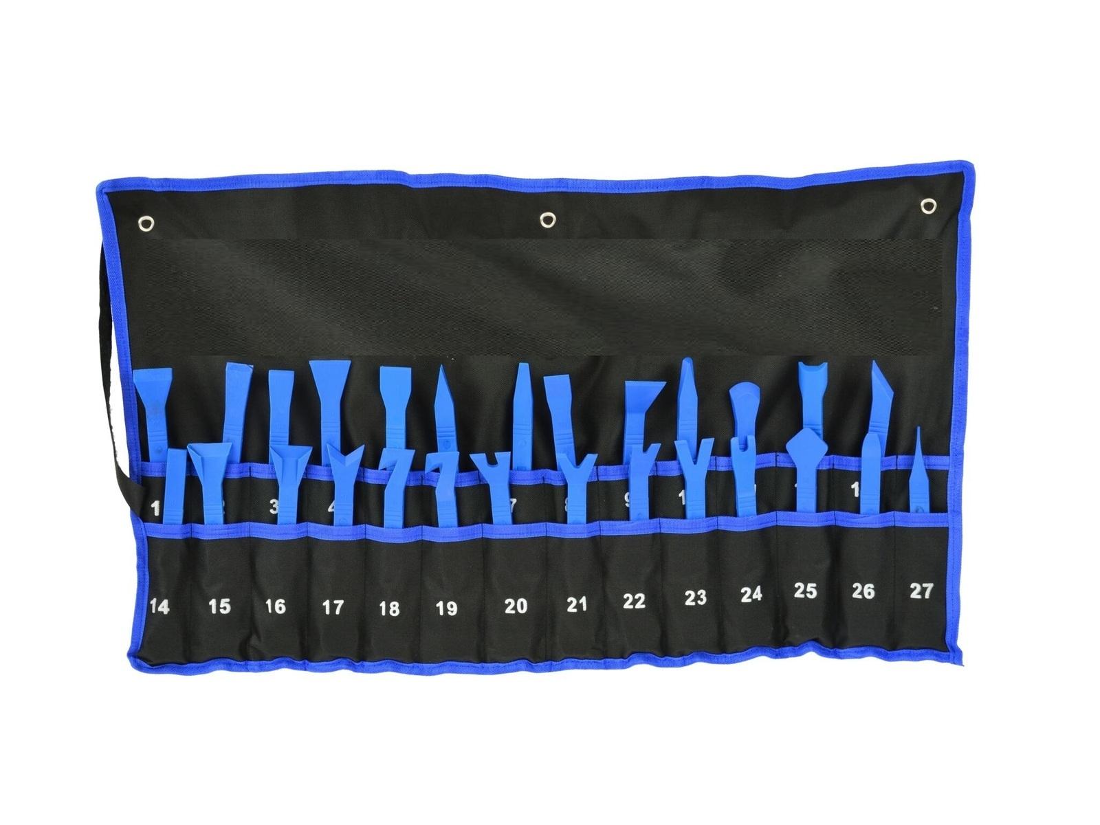 Plastové nástroje - klíny, páky a háky na montáž a demontáž čalounění, sada 27 kusů