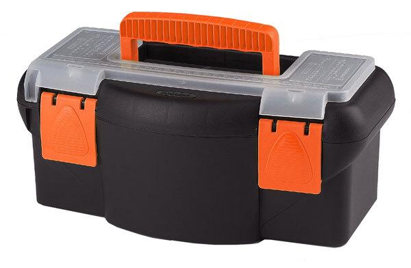 Plastový kufr na nářadí 360 x 190 x 150 mm, s přihrádkou a zásobníkem