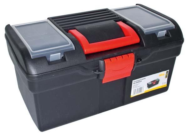 Plastový kufr na nářadí 394 x 215 x 195 mm, s 1 přihrádkou a 2 zásobníky - MAGG PP163