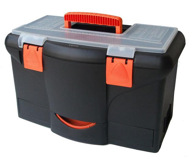 Plastový kufr na nářadí 450 x 290 x 260 mm, s přihrádkou, zásuvkou a zásobníkem