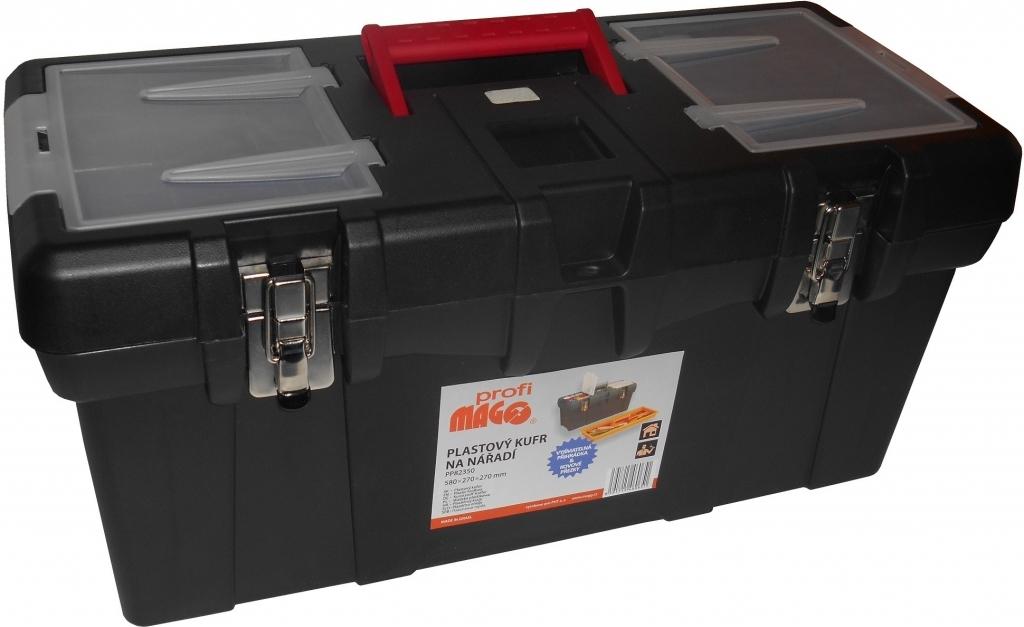 1827d88725e08 Plastový kufr na nářadí 580 x 270 x 270 mm, 1 přihrádka a 2 zásobníky -  MAGG Profi