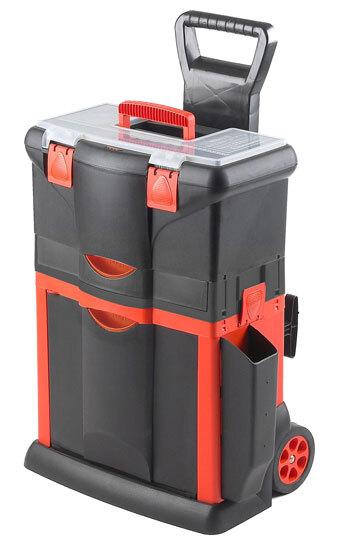 Kufr na nářadí pojízdný, 460 x 330 x 660 mm, 1 zásuvka, tažná rukojeť
