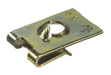 Plechové pružné matice 3,5x16,5x11,0 mm otevřené, pro samořezné šrouby, pozink sada 100 ks