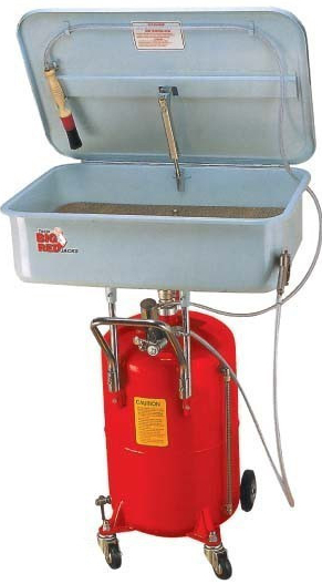 Pneumatická mycí vana, s jímkou, pojízdná, pro čištění dílů