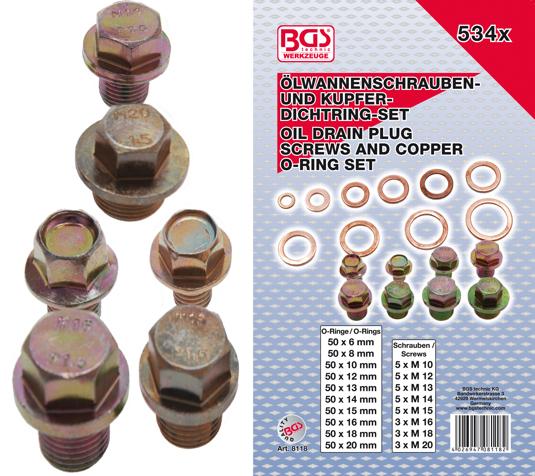 Podložky a zátky pro olejové výpustě 534 dílů - BGS 8118