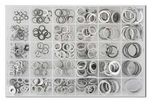 Podložky hliníkové ploché, různé průměry, sada 300 kusů