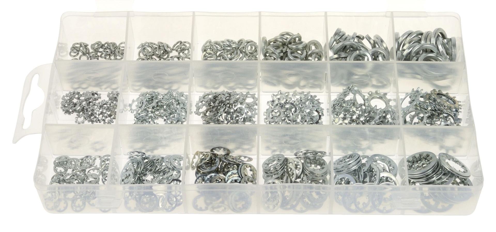 Podložky pružné - pérovky a vějířovité, různé rozměry, pozinkované, sada 720 kusů