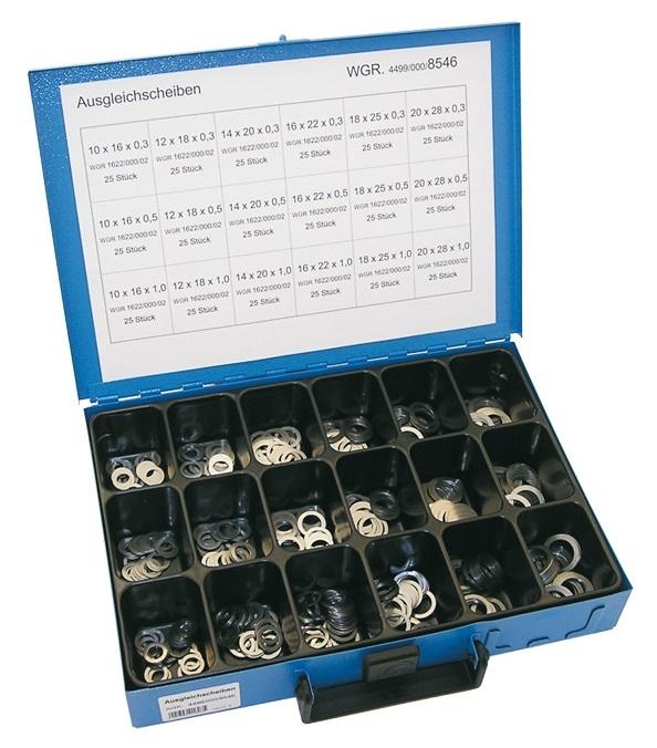 Podložky ploché 10x16-20x28 mm, sada 450 ks v kufru