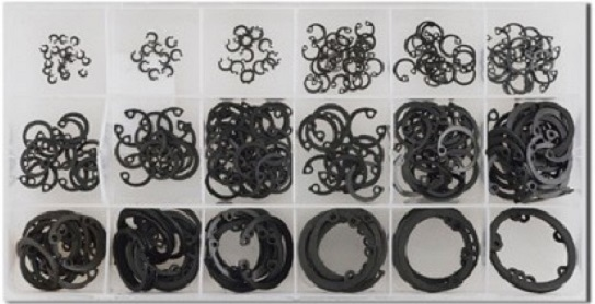 Pojistné kroužky do otvoru - vnitřní segrovky, průměr 3 - 32 mm, sada 300 kusů