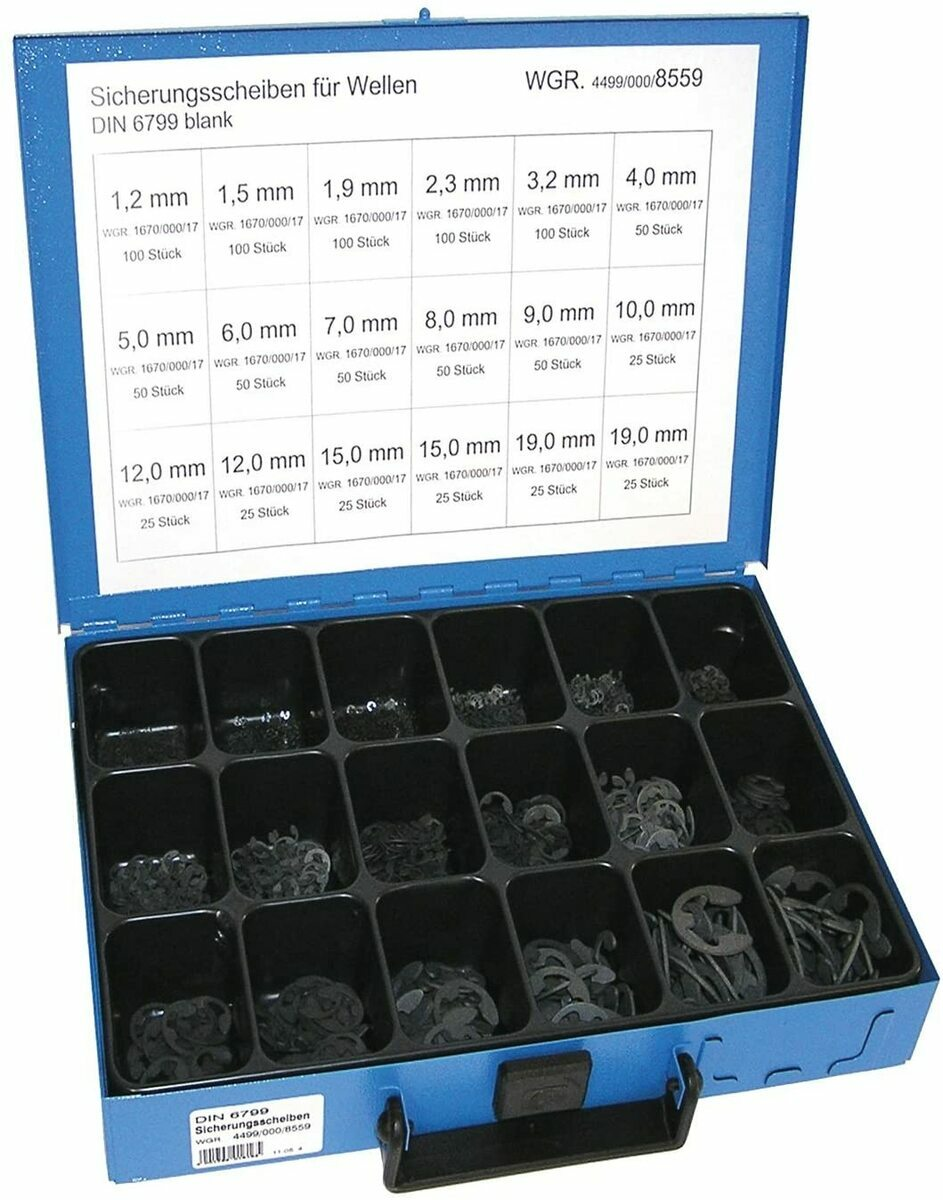 Pojistné kroužky třmenové DIN 6799, pro hřídele s drážkou 1,2-19 mm, sada 975 ks v kufru