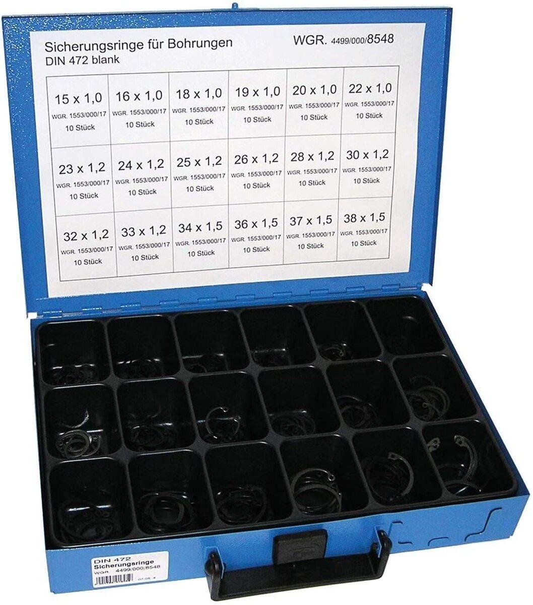 Pojistné kroužky do otvoru - vnitřní segrovky DIN 472, 15x1.0-38x1.5 mm, 180 ks v kufru