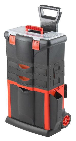 Kufr na nářadí pojízdný, 460 x 330 x 730 mm, 2 zásuvky, tažná rukojeť
