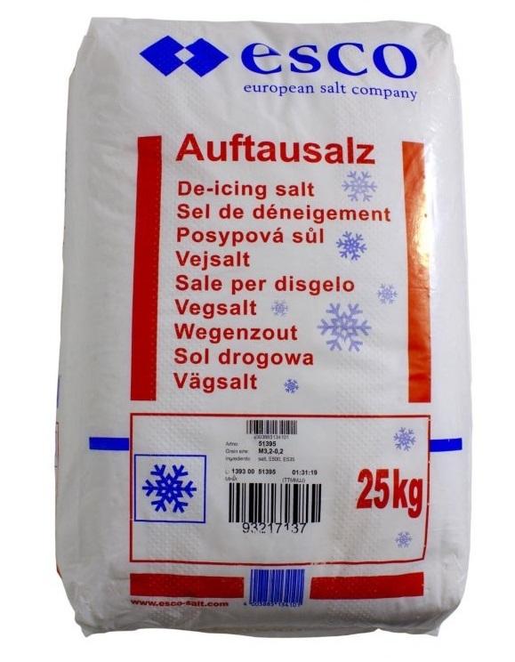 Posypová sůl, hrubá, granule 3,2 – 0,2 mm, balení 25 kg