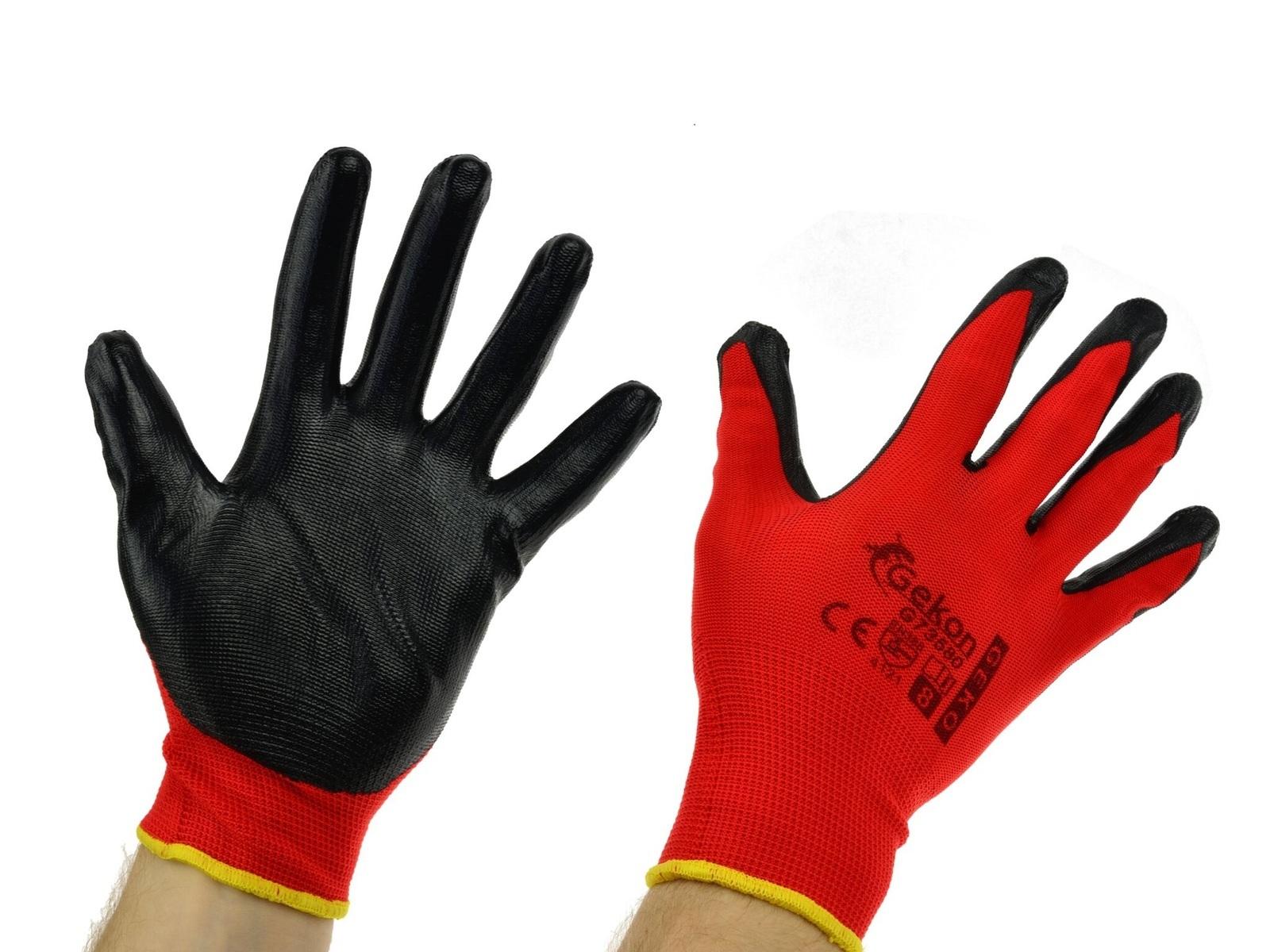Pracovní rukavice GEKON, s nitrilovou dlaní, velikost 8