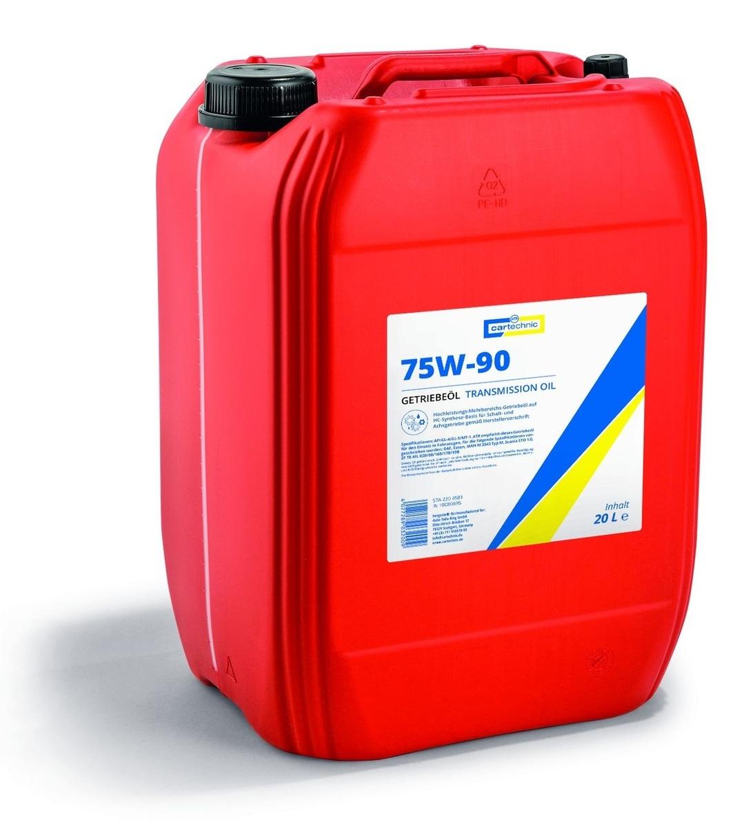Převodový olej 75W-90 pro velmi namáhané převodovky, 20 litrů - Cartechnic