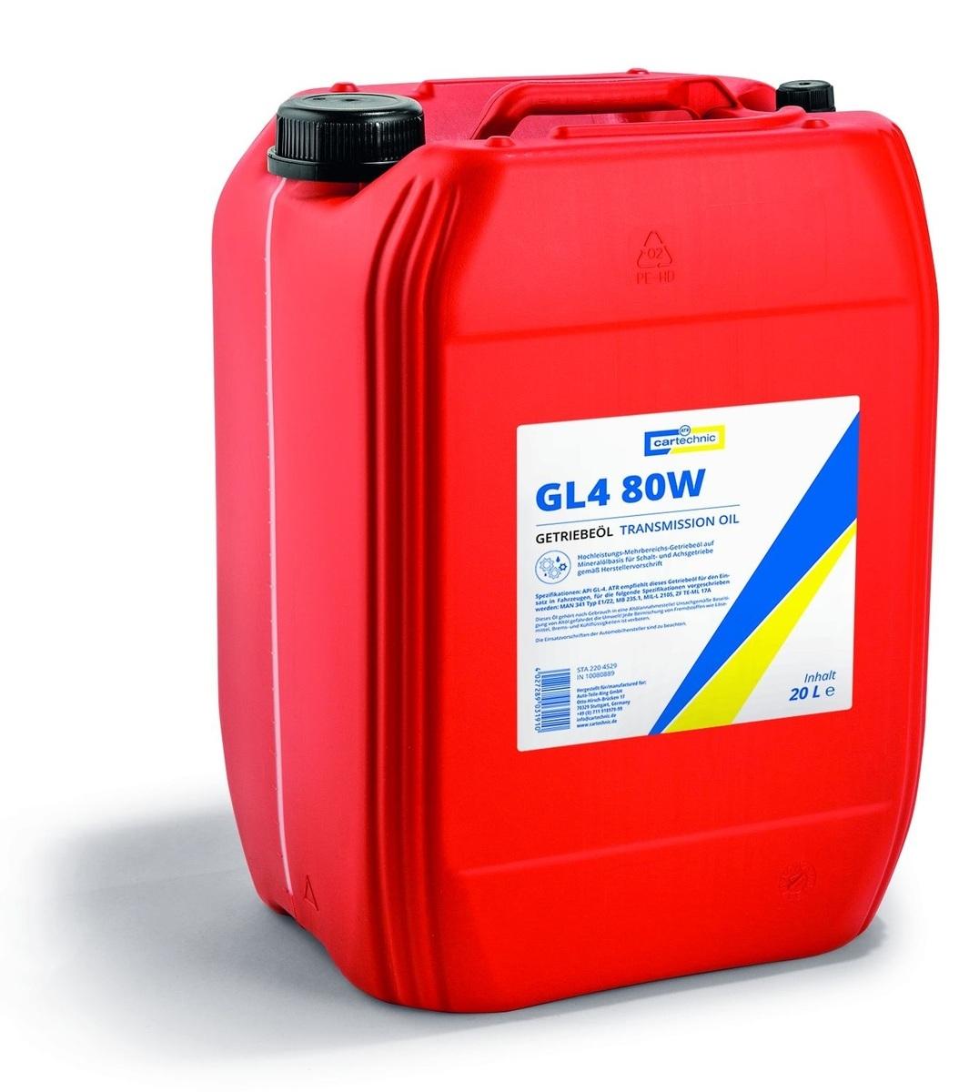 Převodový olej GL4 80W-90, pro manuální převodovky, 20 litrů - Cartechnic