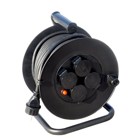 Prodlužovací kabel 50 m na bubnu, venkovní IP44, 3 x 1,5 mm2, 4 zásuvky