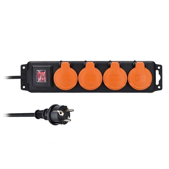 Prodlužovací kabel 5 m, venkovní IP44, 3 x 1,5 mm2, 4 zásuvky