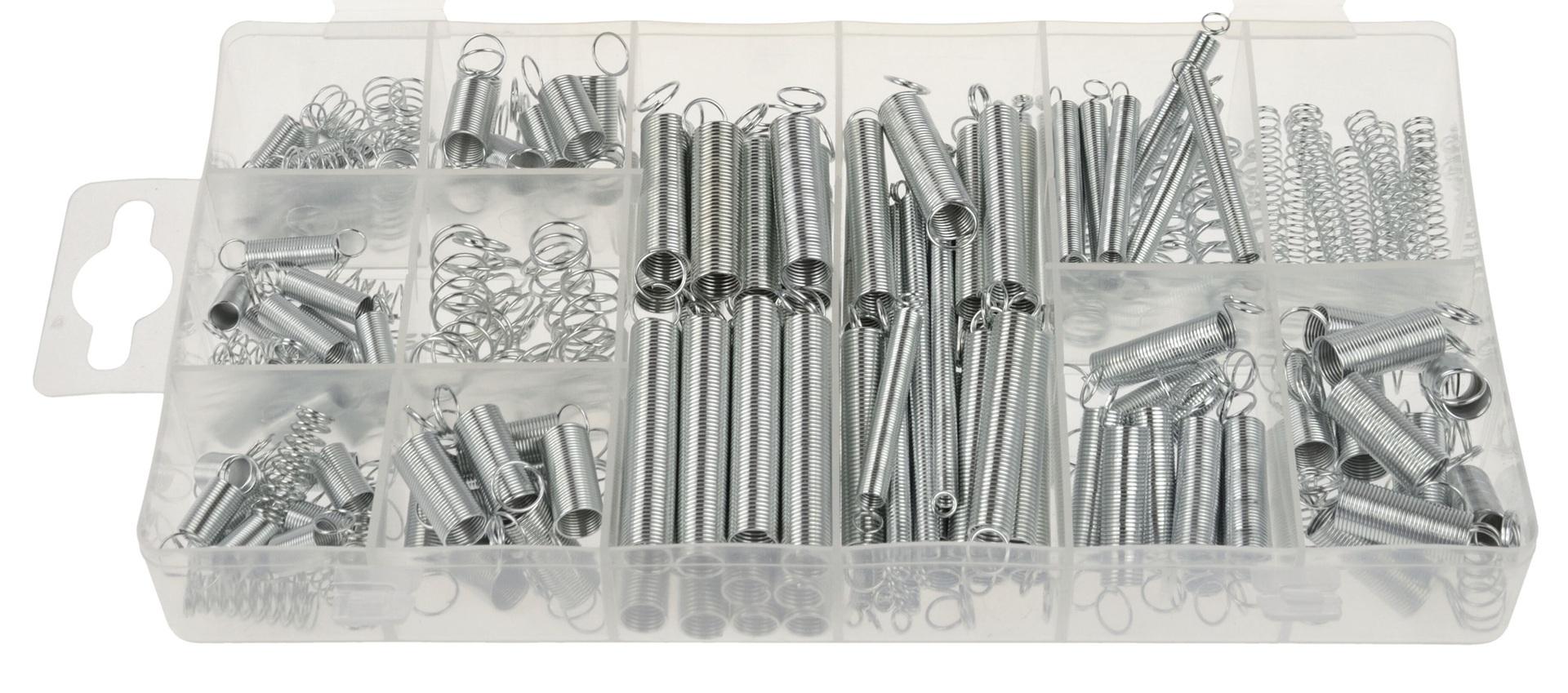Pružinky - pera, 17.46 - 19.5 mm, stahovací a roztahovací, sada 200 kusů