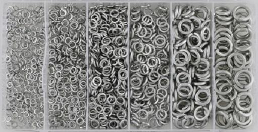 Pružné podložky - pérovky, různé rozměry, sada 1200 kusů