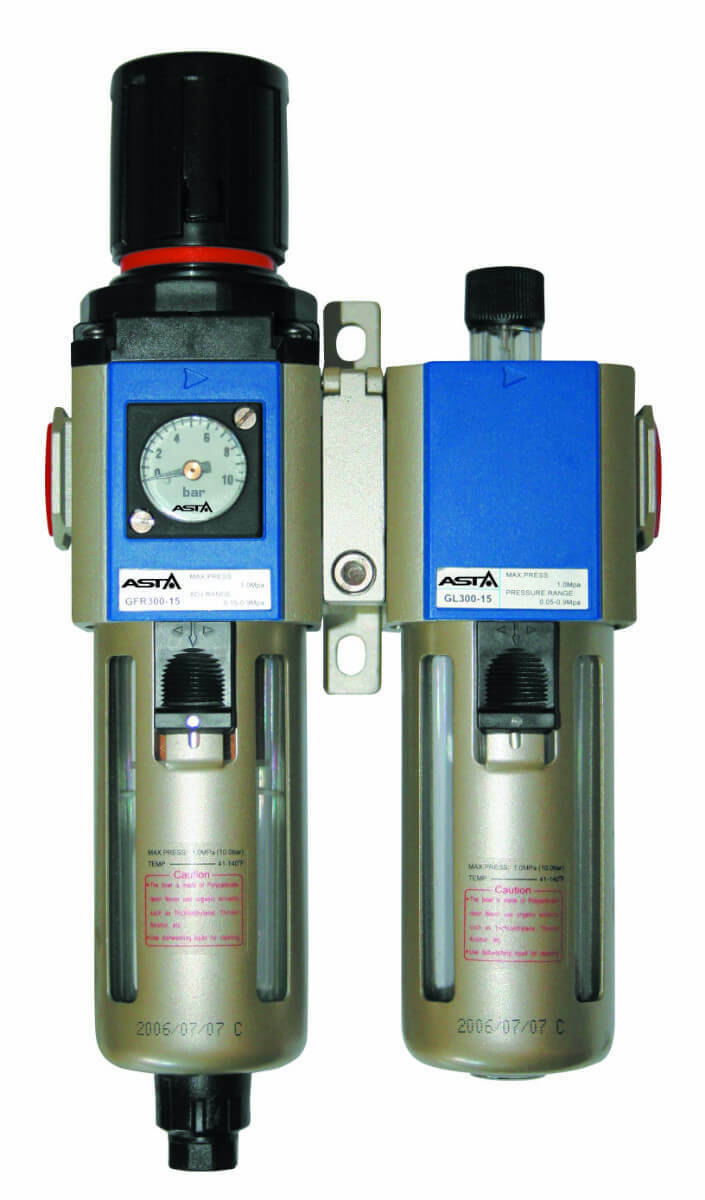 """Regulátor tlaku vzduchu 1/4"""", s odlučovačem a mazáním - ASTA"""