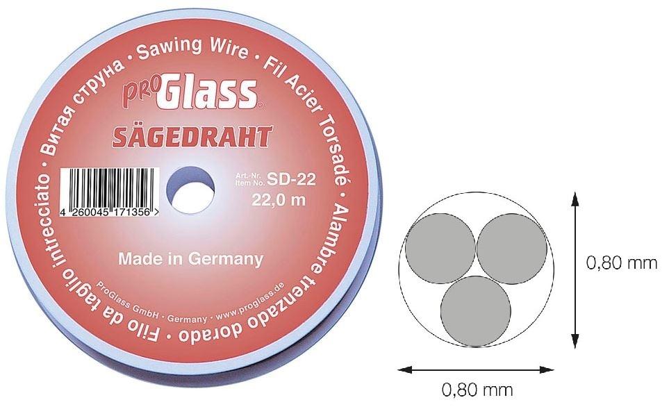 Řezací drát na autoskla, průměr 0.80 mm; 22 m - ProGlass SD-22