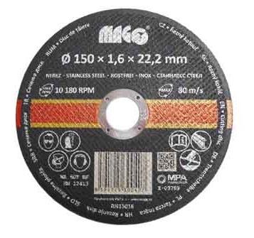 Řezný kotouč na nerez 150 x 1,6 x 22,2 mm MAGG