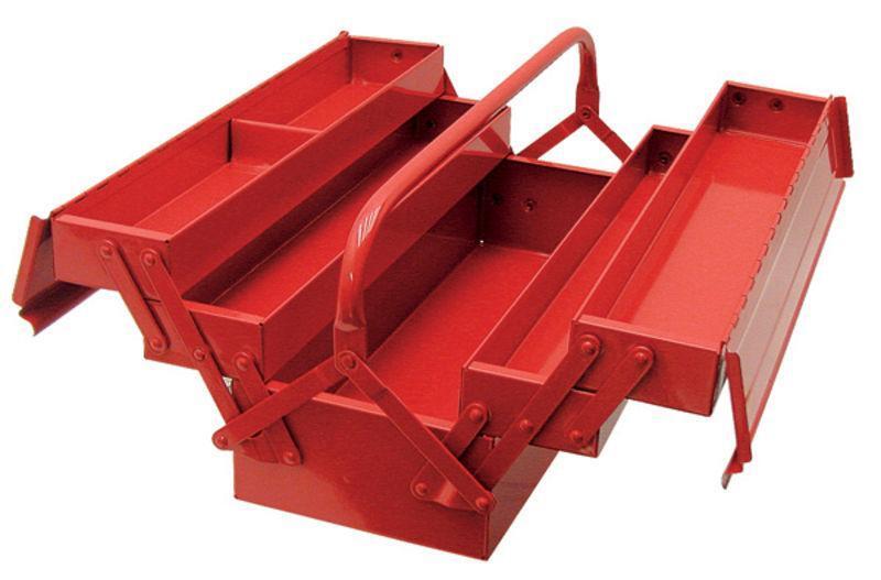 Rozkládací montážní skříňka - basa na nářadí, plechová, 42 x 20 x 20 cm - MAGG BOXFE