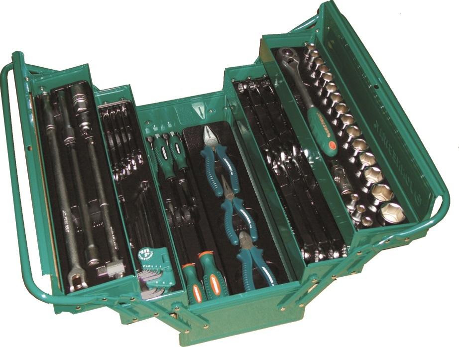 Rozkládací skříňka, bedna s nářadím, sada 62 kusů - JONNESWAY C-3DH262