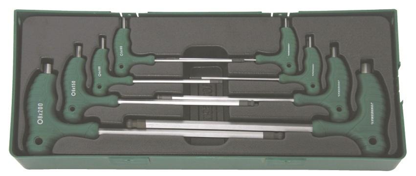 Sada 8 zástrčných klíčů Imbus s kuličkou a T rukojetí v kazetě - JONNESWAY H10MB08SP