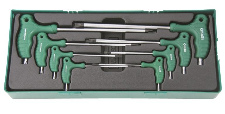 Sada 8 zástrčných klíčů Torx s T rukojetí v kazetě - JONNESWAY H10MT08SP
