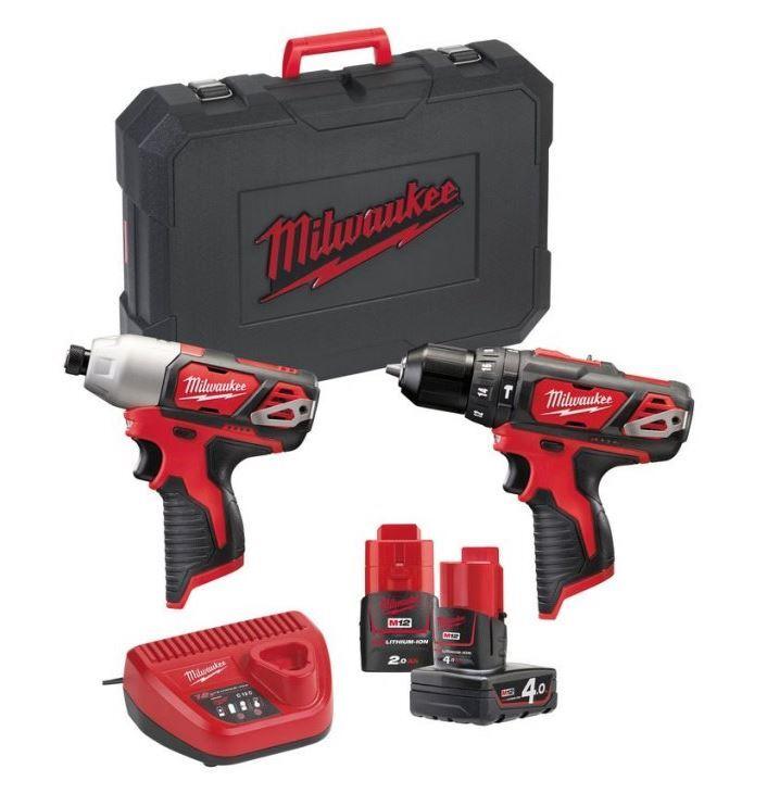 Sada aku nářadí 12V: vrtačka, utahovák, 2 baterie, nabíječka - Milwaukee M12 BPP2B-421C