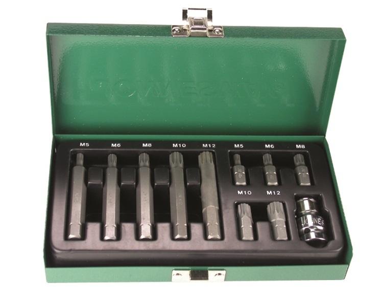 Sada bitů XZN (Spline), M5 - M12, délky 30 a 75 mm, 11 kusů - JONNESWAY S29H4111S