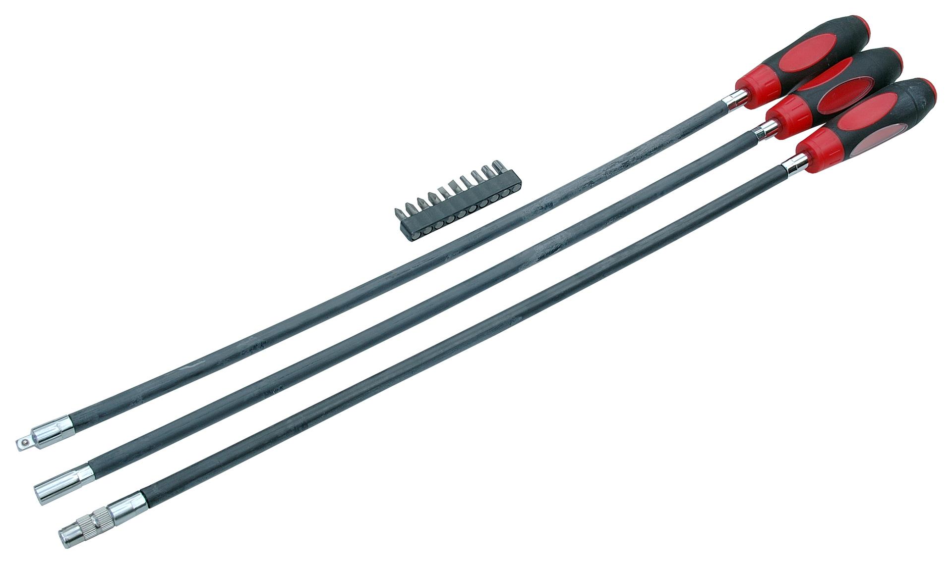 Flexibilní šroubováky, extra dlouhé, s různým zakončením s bity, sada 3 kusů - QS51215