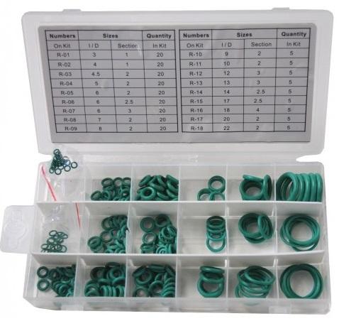 Sada gumových o-kroužků, pro spoje klimatizace, 225 kusů