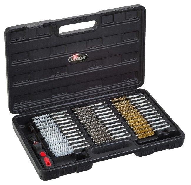 Sada kartáčů na vrtačku, ocelové a nylonové, 38 dílů - VIGOR V4646