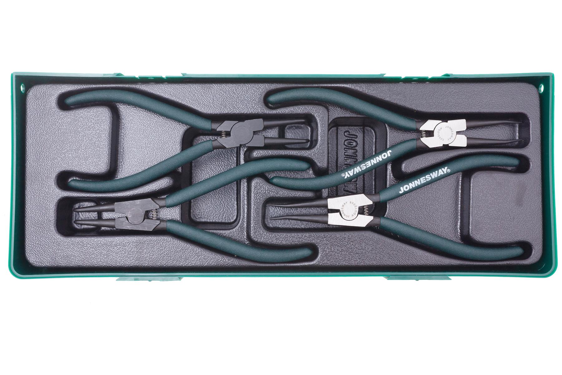 Sada kleští seger 180 mm, vnějších a vnitřních, 4 kusy, v kazetě - JONNESWAY AG010002SP