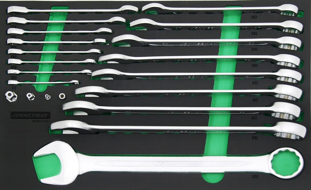 Modul - sada klíčů, očkoploché a očkoploché s ráčnou, 8-46 mm, 21 ks - JONNESWAY W26121SV